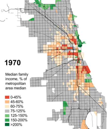 Chicago median incomes, 1970