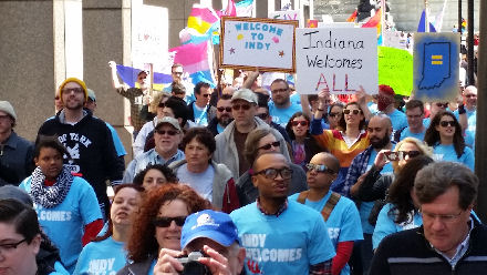 LGBTs & allies marching in Indianapolis