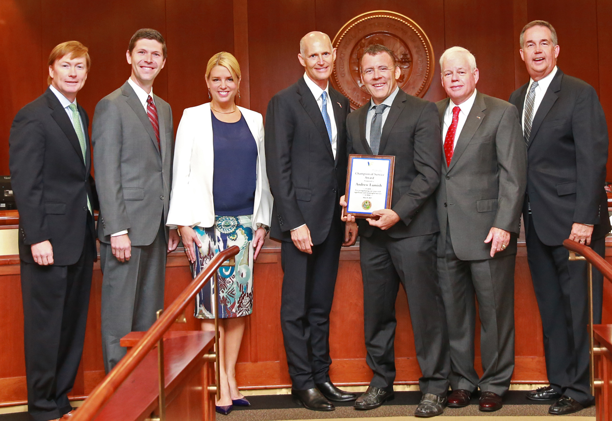 Governor Scott And The Florida Cabinet Present The Champion Of Service  Award To Andrew Lumish