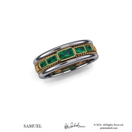 Man's emerald band in 18KYG & platinum.