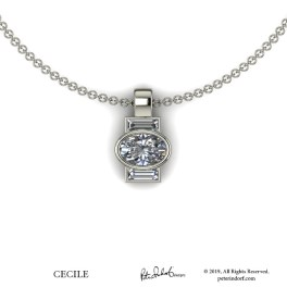 Oval diamond with diamond baguettes in a simple pendant  design in 14KWG.