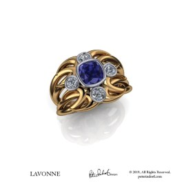 Sapphire and diamond contemporary design ring, 18KYG and platinum.
