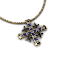 Jerusalem cross with diamonds and sapphires all channel set in 14KYG.