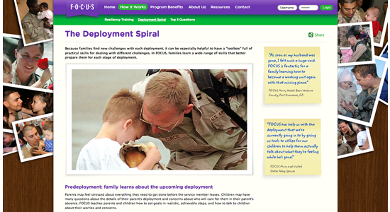 Screen shot of the public site, particularly of the Spiral Loop, experienced by military families.