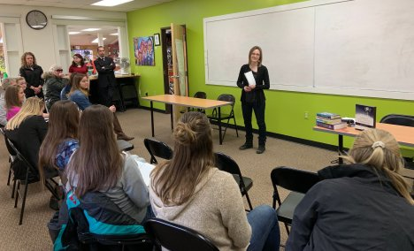 Hometown Bicycles CEO Dawn Bhajan speaks at Hometown's Young Women's Entrepreneurship event