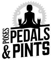 Poses, Pedals, and Pints logo