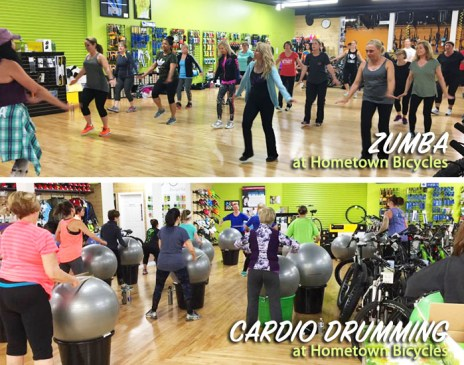 Zumba with Leslie Barrett and Cardio Drumming with Martha Soraruf at Hometown Bicycles