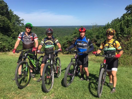 Team Hometown Bicycles' Mike Dyer, Jim Thompson, Keith Cowgar, and Paul Andres at Brown County Park, Indiana
