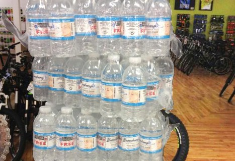 Beauchamp Treatment and Supply bottled water at Hometown Bicycles