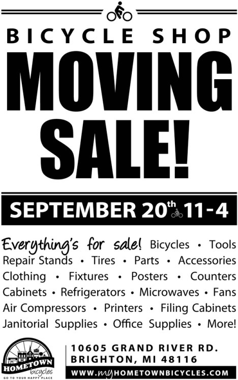 Hometown Bicycles Moving Sale - September 20th from 11-4