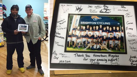 Brighton High School Cycling Team thanks Hometown Bicycles for its support