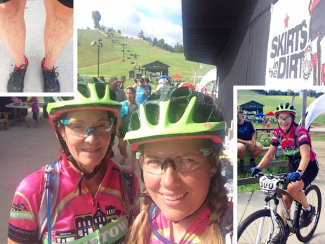 Jennifer McCauley and Jessica Beaubien represent Hometown Bicycles Green Gals at Skirts in the Dirt womens-only mountain bike race