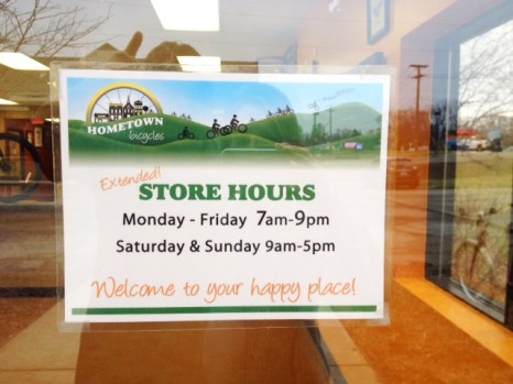Hometown Bicycles store hours