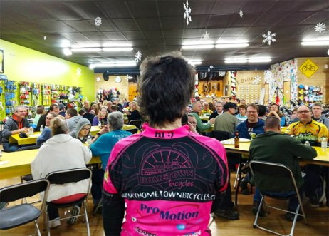 Team Hometown Bicycles' Team Night event with Laura Faunce speaking