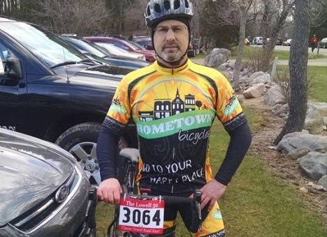Team Hometown Bicycles' Captain, Brian Forhan, at the Lowell 50 Classic Gravel Road Race