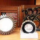 Bicycle chain frames and cyclist desk statue