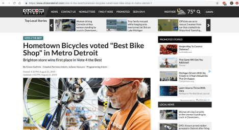 Hometown Bicycles featured on WDIV-TV's ClickOnDetroit Vote 4 the Best Contest website