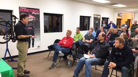 Jamis rep Tom Trentanove at Hometown Bicycles' Why Jamis? Clinic Party