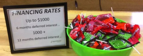Hometown Bicycles financing rates with candy