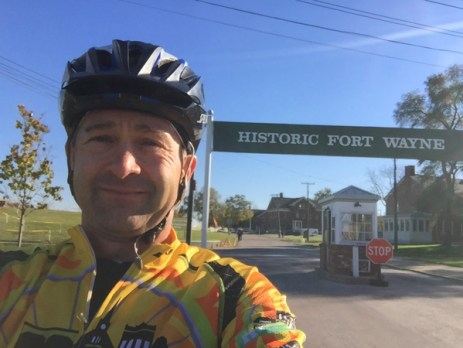 Team Hometown Bicycles' DJ Joe Ostervik at the Mad Anthony CX Race at Historic Fort Wayne