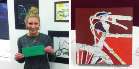 McKenna Baumker and her artwork at Hometown Bicycles