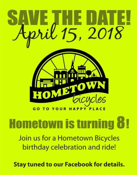 Hometown Bicycles 8th Anniversary Save the Date