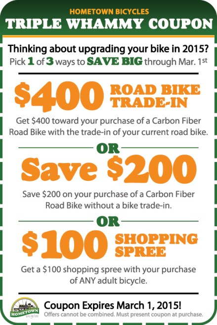 Hometown Bicycles Triple Whammy Coupon