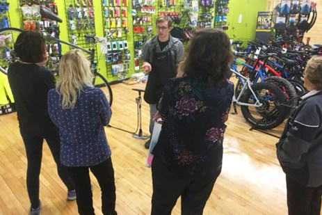 Hometown Bicycles Ladies Night Out: Spring Edition bike clinic on flat tire fixes