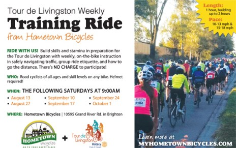 Hometown Bicycles weekly Tour de Livingston Training Ride series flier
