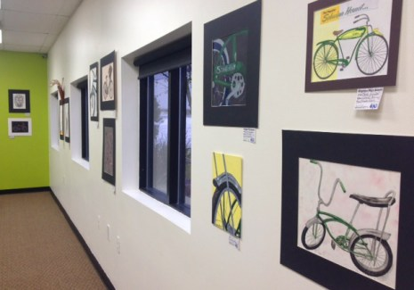 Brighton High School student bicycle art display at Hometown Bicycles