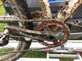 Team Hometown Bicycles Jack Riddle's bike covered in mud after Arcadia Grit and Gravel