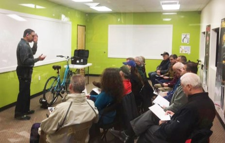 Vinnie Baylerian from Pro-Motion Physical Therapy ran a packed bike fit clinic in Hometown Bicycles' Community Room