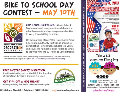 Hometown Bicycles Bike to School Day flier for the Howell Parks and Rec