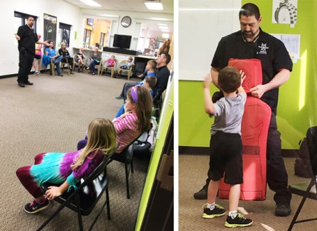 Instructor Ian Kinder teaches children safety basics in his Kids Self Defense Class in Hometown Bicycles Community Room