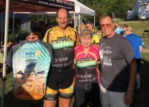 Roger Pelkey, winner of the Tour de Livingston jersey, with Jean Steinberg and Peter Bowen at the Tour de Livingston Party Ride with Shaun at Hometown Bicycles
