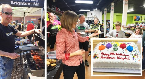Hot dogs on the grill and birthday cake at Hometown Bicycles 8th Birthday Party