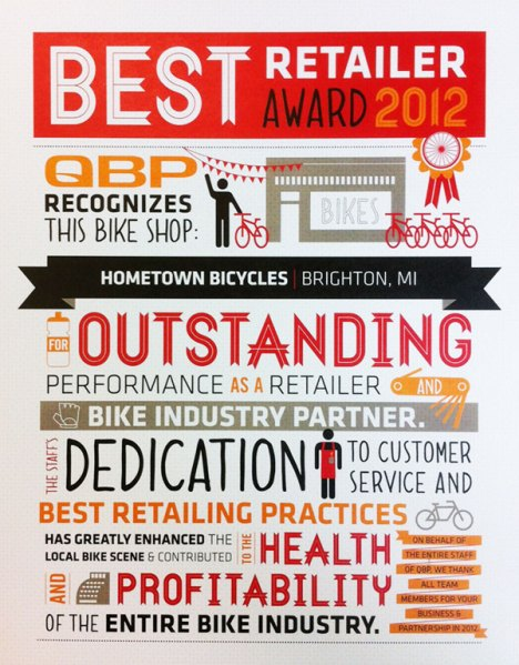 Quality Bike Products Best Retailer Award 2012