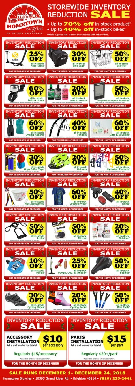 Hometown Bicycles 2018 December Inventory Reduction Sale