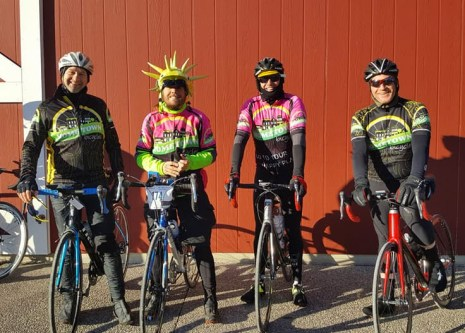 Team Hometown Bicycles riding the Dawn Farm Recovery Ride - Joe Ostervik, Jacob Henriksen, Van Gorden, and Jim Cleer