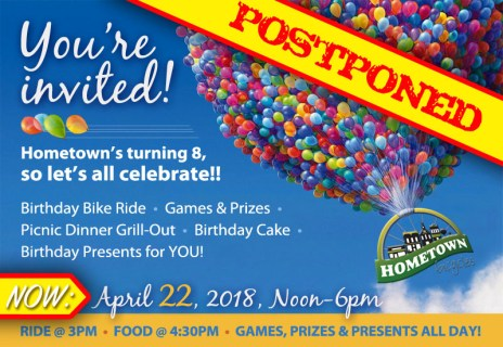 Hometown Bicycles 8th Birthday Party Invitation - postponed until April 22