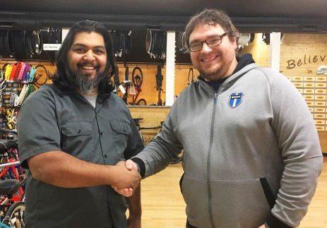 Shaun Bhajan of Hometown Bicycles shakes hands with Matt Fitzhorn of Vincere Cycles