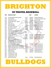 Brighton Bulldogs 9U Travel Baseball Team Schedule
