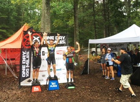 Team Hometown Bicycles' Olga Negrut wins her age division at the X100 50-mile Ultimate Mountain Bike Race in Traverse City