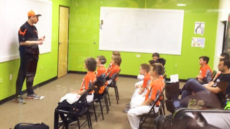 Brighton Bulldogs Travel Baseball Team meeting in the Hometown Bicycles Community Room