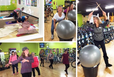 Yoga with Ashley Knuth of Tocca Massage and Yoga, Cardio Drumming with Martha Soraruf, and Zumba with Rael'e Buddenborg of Hamburg Fitness Center at Hometown Bicycles' Fall Extravaganza