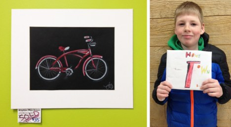 Student bicycle art at Hometown Bicycles