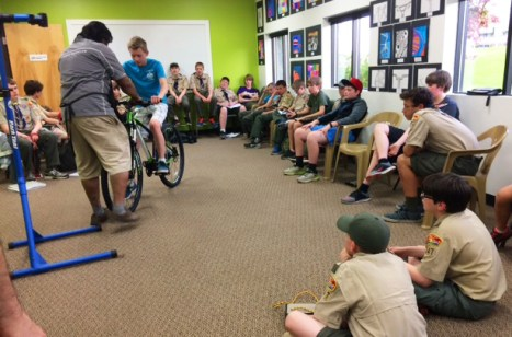 Boy Scout Troop 347 bicycle clinic at Hometown Bicycles with Shaun Bhajan