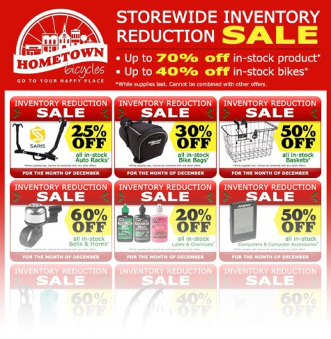 Hometown Bicycles Storewide Inventory Reduction Sale