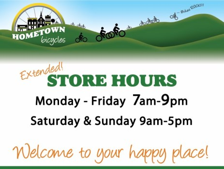 Hometown Bicycles New Store Hours