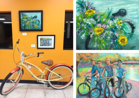 The bicycle art of Peggy N. Brewer at Hometown Bicycles